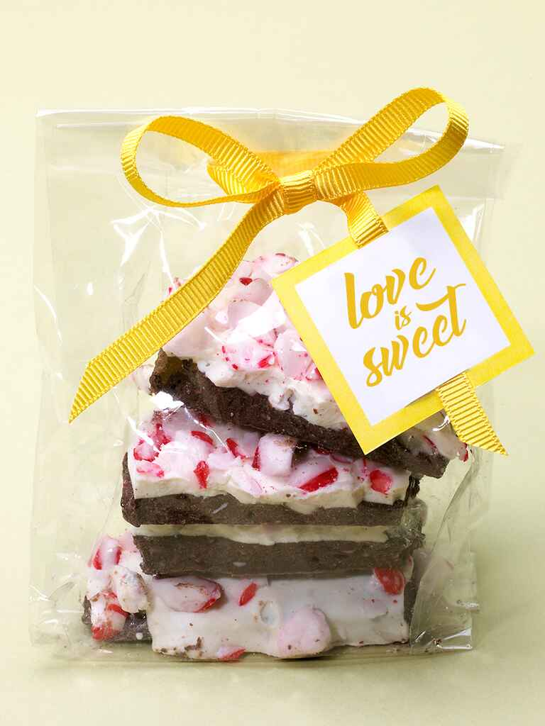Seasonal wedding favor of peppermint bark