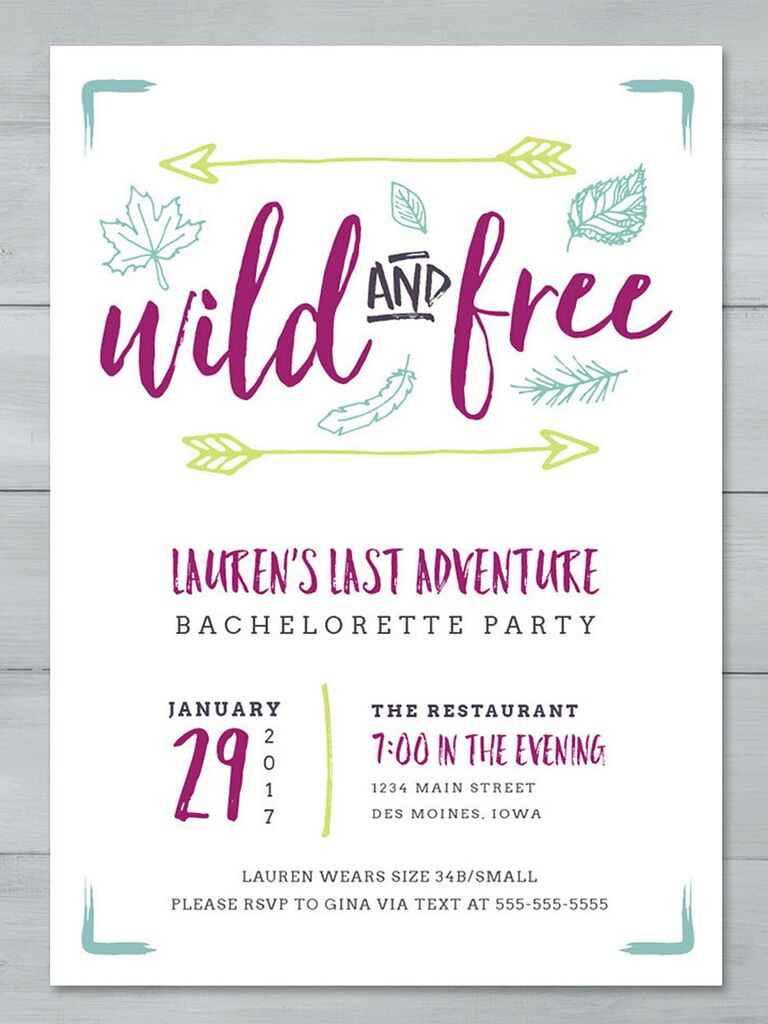 Wild And Free Cute Printable Bachelorette Party Invitation Tempate