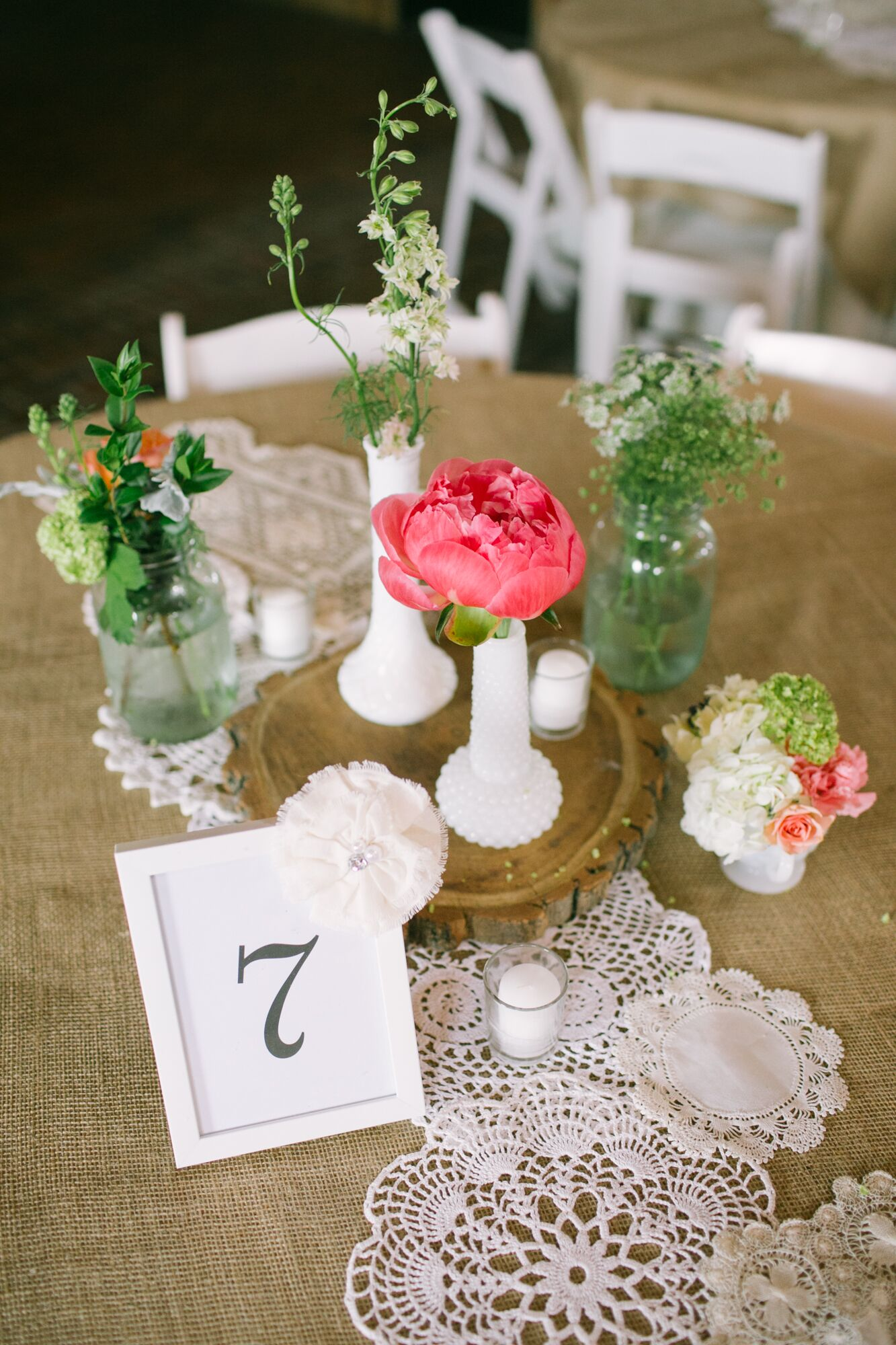 Simple small pink peony centerpieces