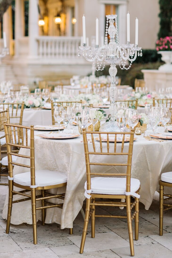 Glam dining tables with crystal candelabras for Glam dining table
