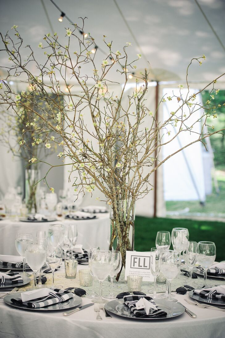 Tall Centerpieces with Flowering Quince Branches