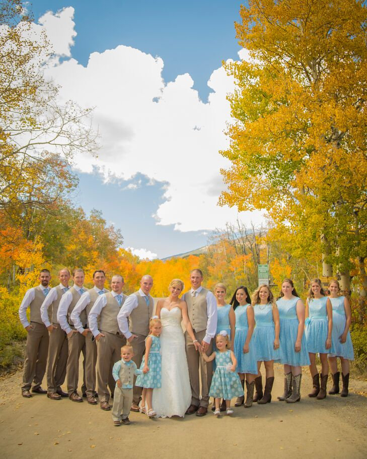 Light Blue Wedding Party with Cowboy boots