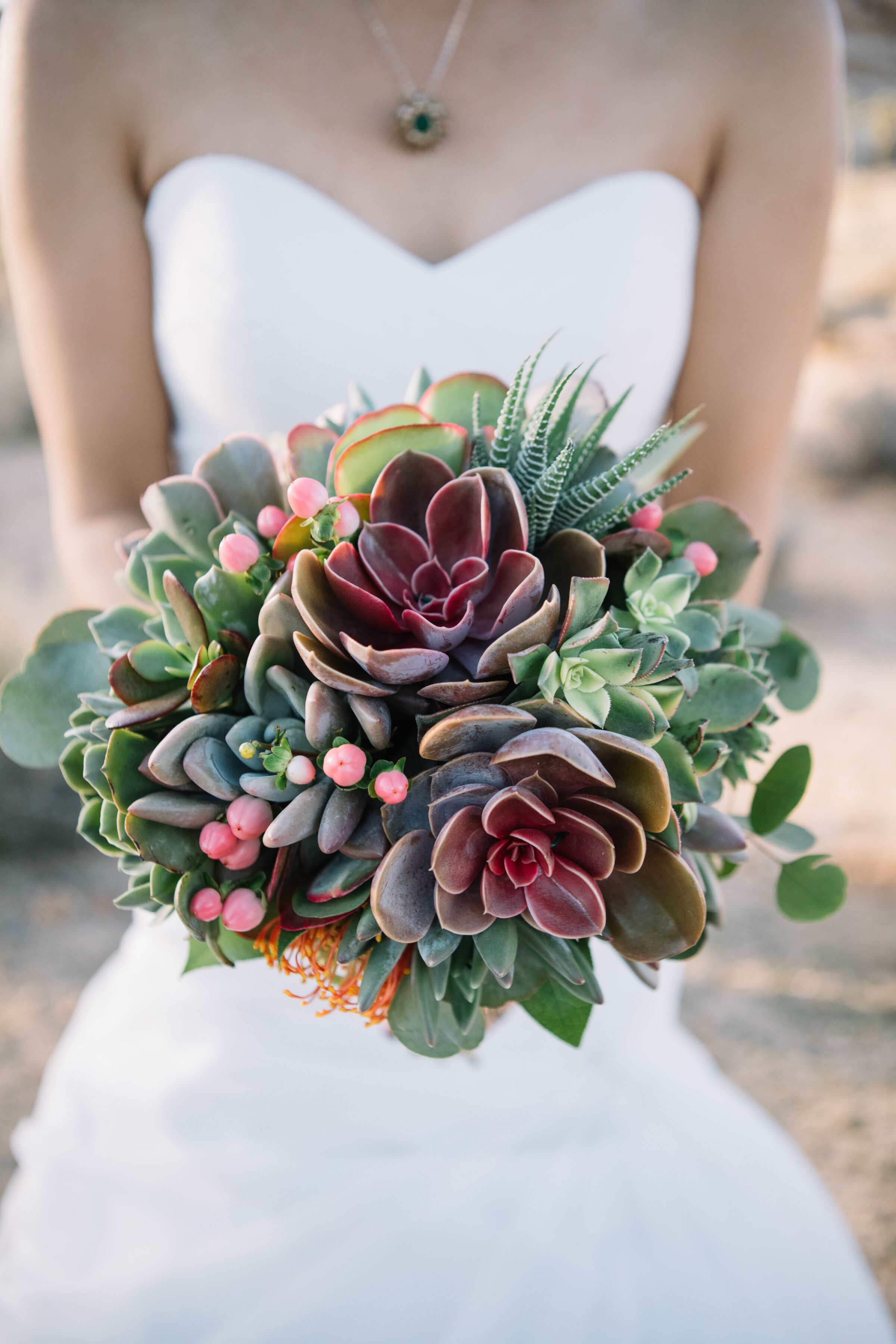 Modern Rustic Green And Purple Succulent Bouquet