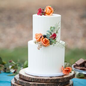 White wedding cakes simple white wedding cake with orange and red flowers junglespirit Gallery