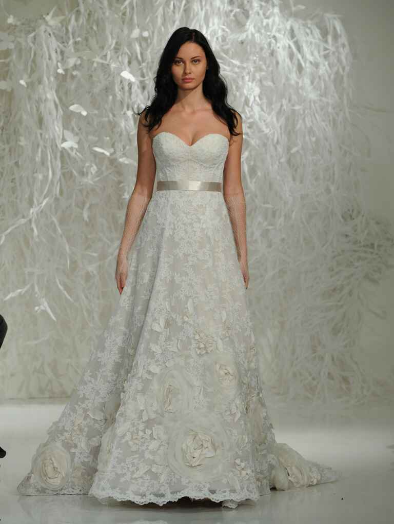 Watters Fall 2016 strapless sweetheart neckline lace wedding dress with oversized rosette detailing