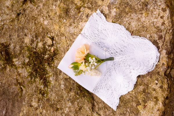Simple Peach Rose Boutonniere