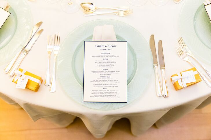 Tables were set with elegant gold flatware and beautiful glass chargers.
