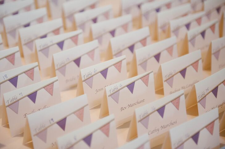 The bunting design that Katie and Garret used on their DIY invitations was echoed on their escort cards.