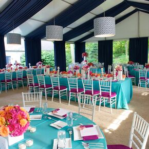 Lodge Like Wedding Venue In Virginia Decorated With White And Teal