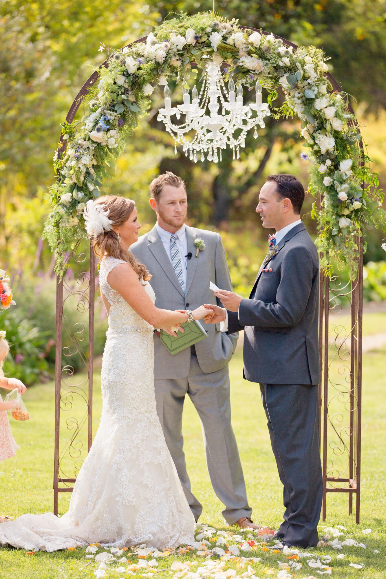 Iron Wedding Arch With Elegant Chandelier