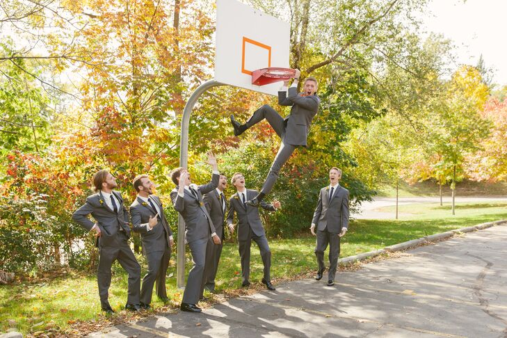 Groomsmen Play Basketball Before Fall Wedding