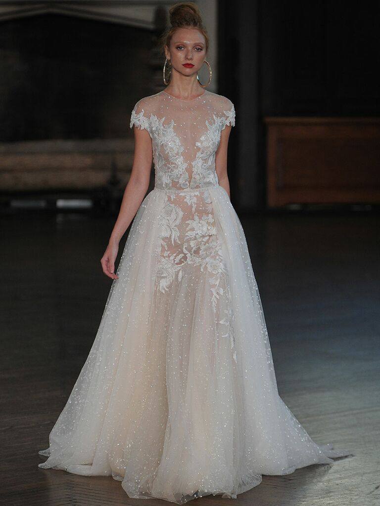 Berta A Line Wedding Gown With Sheer Crystal Embellished Tulle And Illusion Neckline For