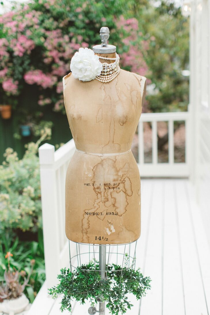 Brown Vintage Mannequin with Pearls