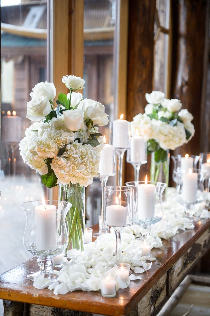 Romantic hydrangea and pillar candle centerpieces