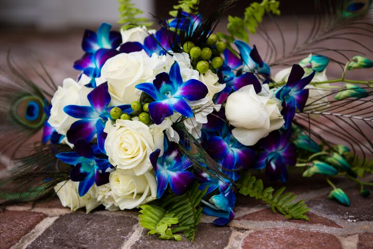 White Rose And Dyed Blue Orchid Bouquet