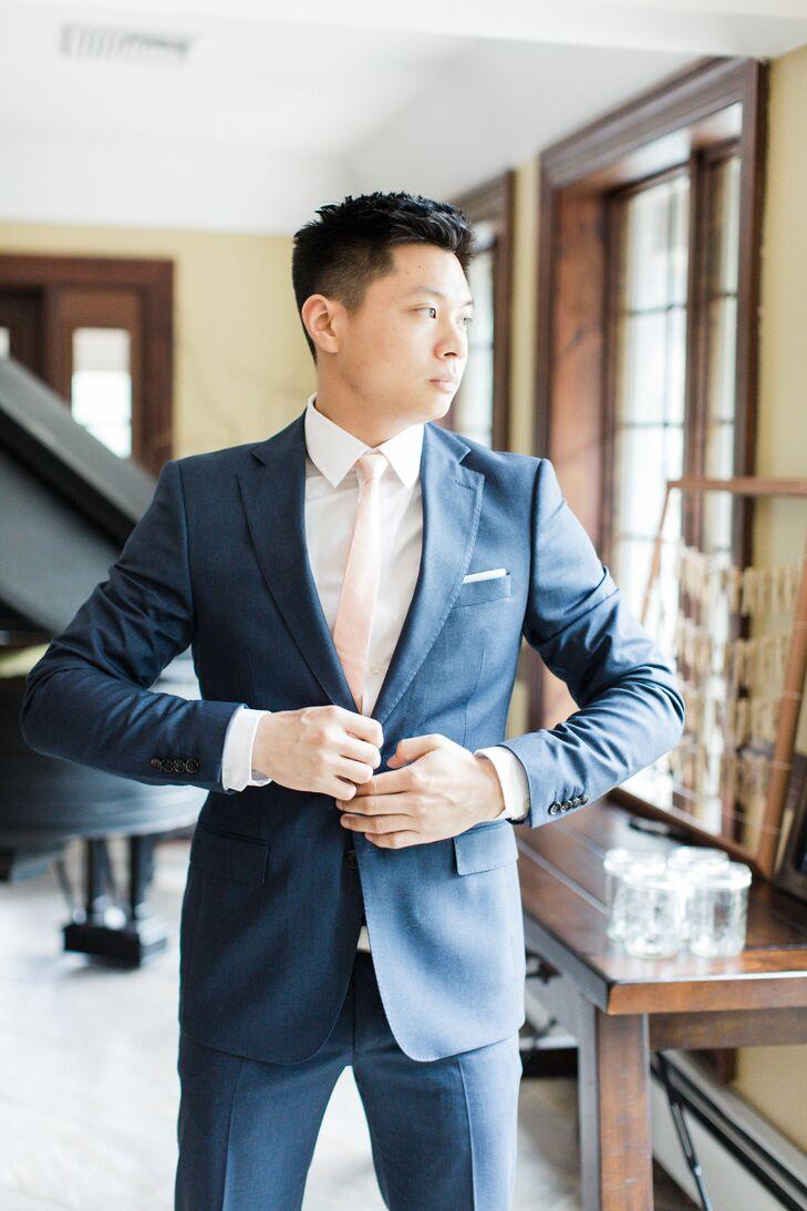 Zara Modern Navy Blue Groom\'s Suit