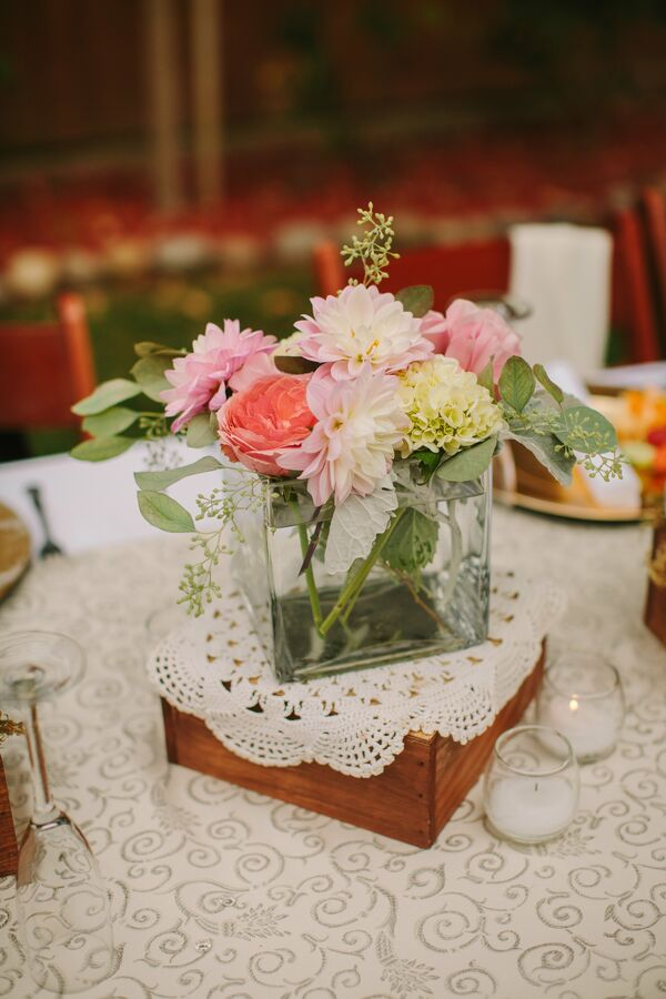 Simple Pink Centerpieces