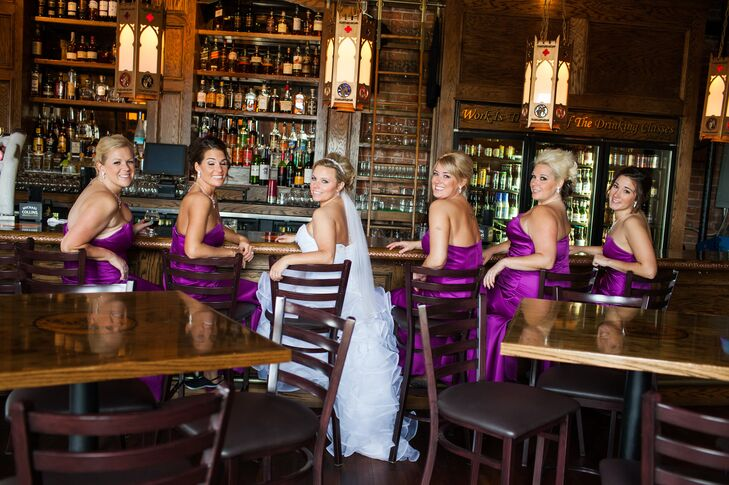Tiffany and her purple bridesmaids relaxed in a bar before the wedding to toast to the day's celebration. It was the perfect place to escape the rain before it thankfully cleared up for the ceremony.