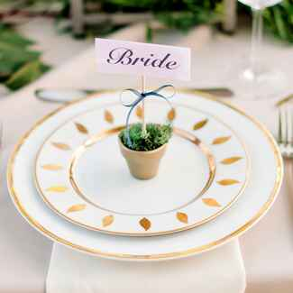 gold and white place setting