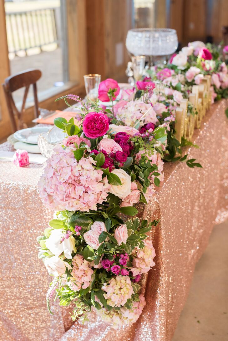 Lush Romantic Garland with Hydrangeas and Roses