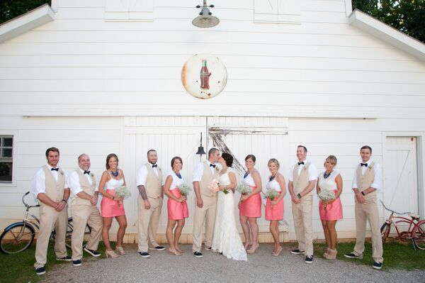 Preppy Pink and Khaki Wedding Party Attire