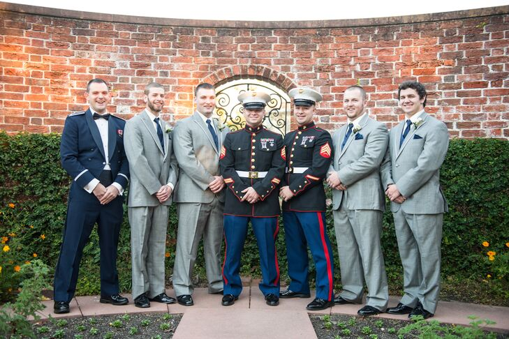 Sam wore his United States Marine Corps dress blues for the ceremony but changed into a light gray tuxedo for the reception.