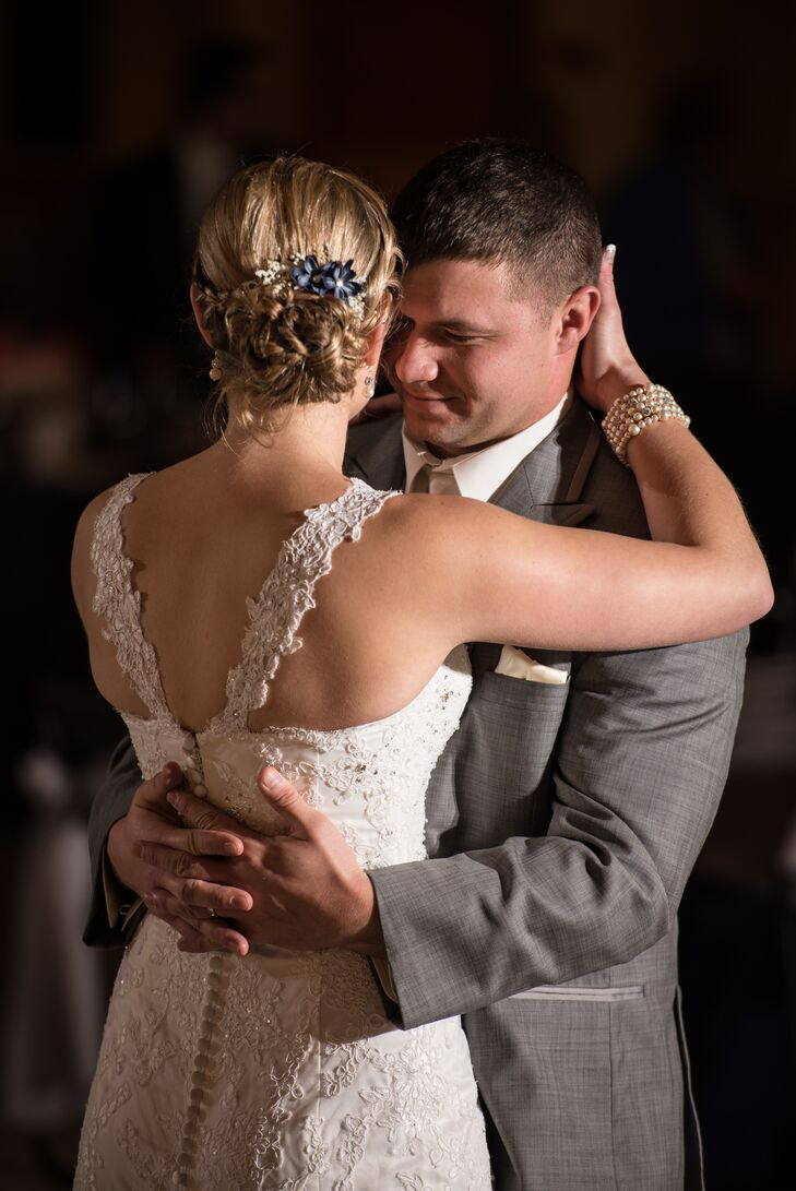 Thera had straps added to her delicate lace gown so she would be comfortable dancing during the reception.