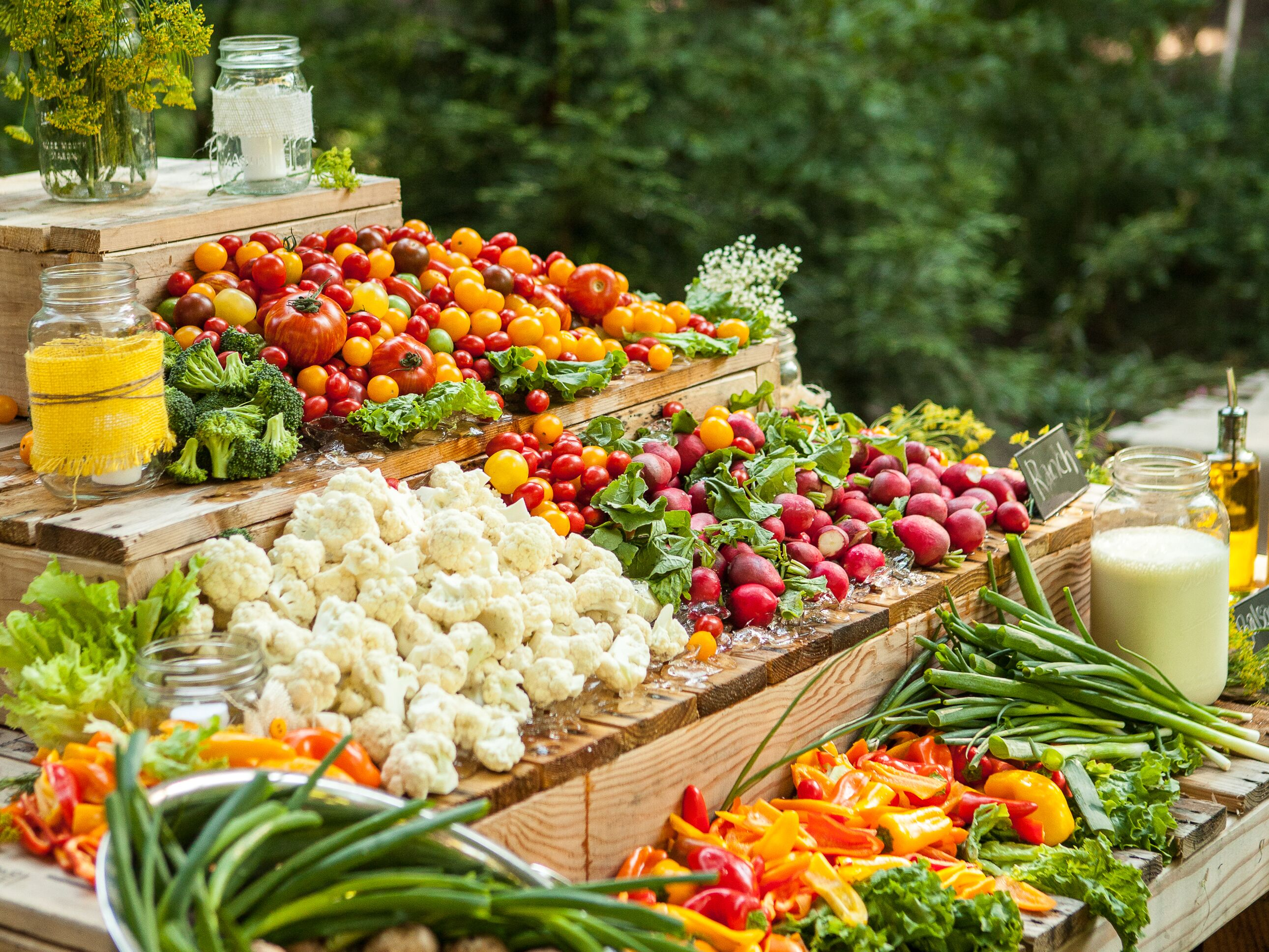 Crudite is not the only way to serve veggies at your wedding for Food bar wedding reception