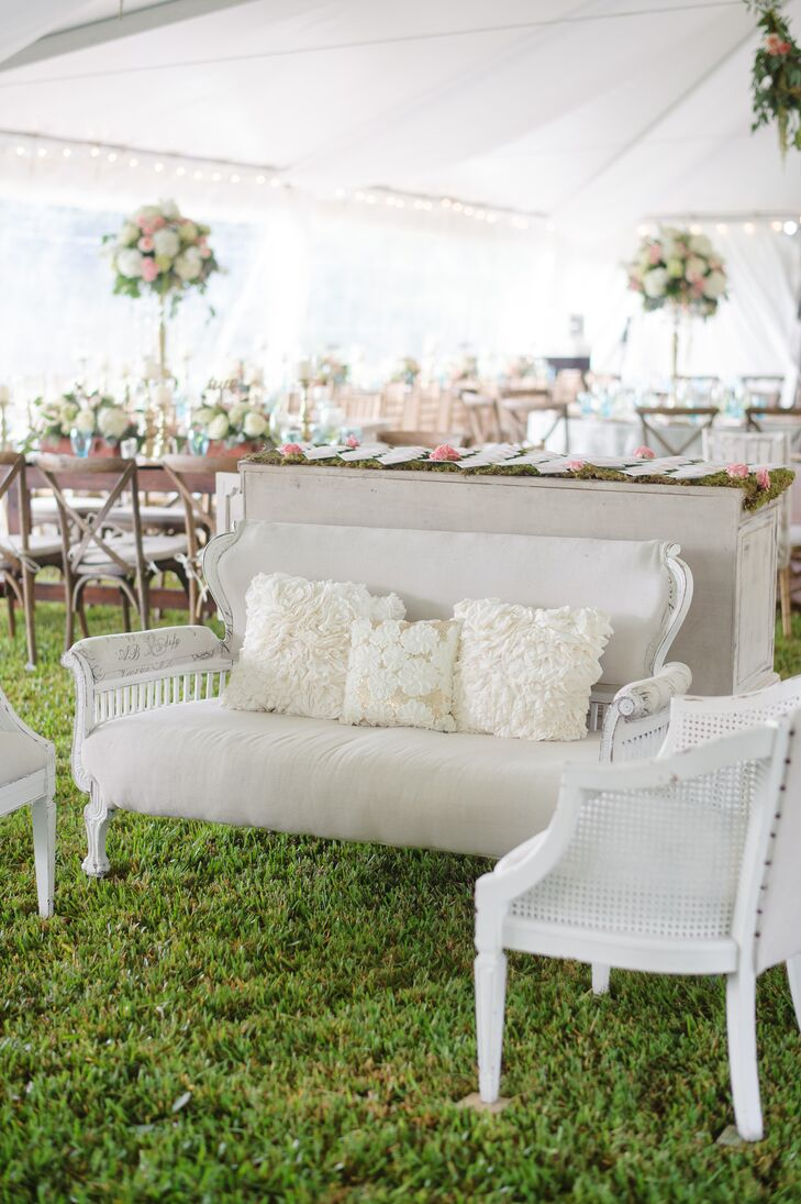 Vintage White Couch with Textured Pillows