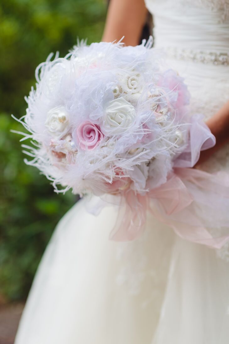 Diy pink and white fabric and feather bridal bouquet izmirmasajfo