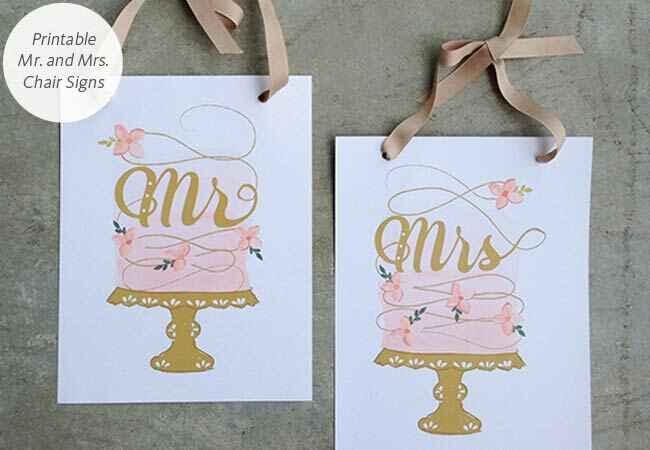 DIY Mr. and Mrs. printable chair signs: Wedding Chicks / TheKnot.com