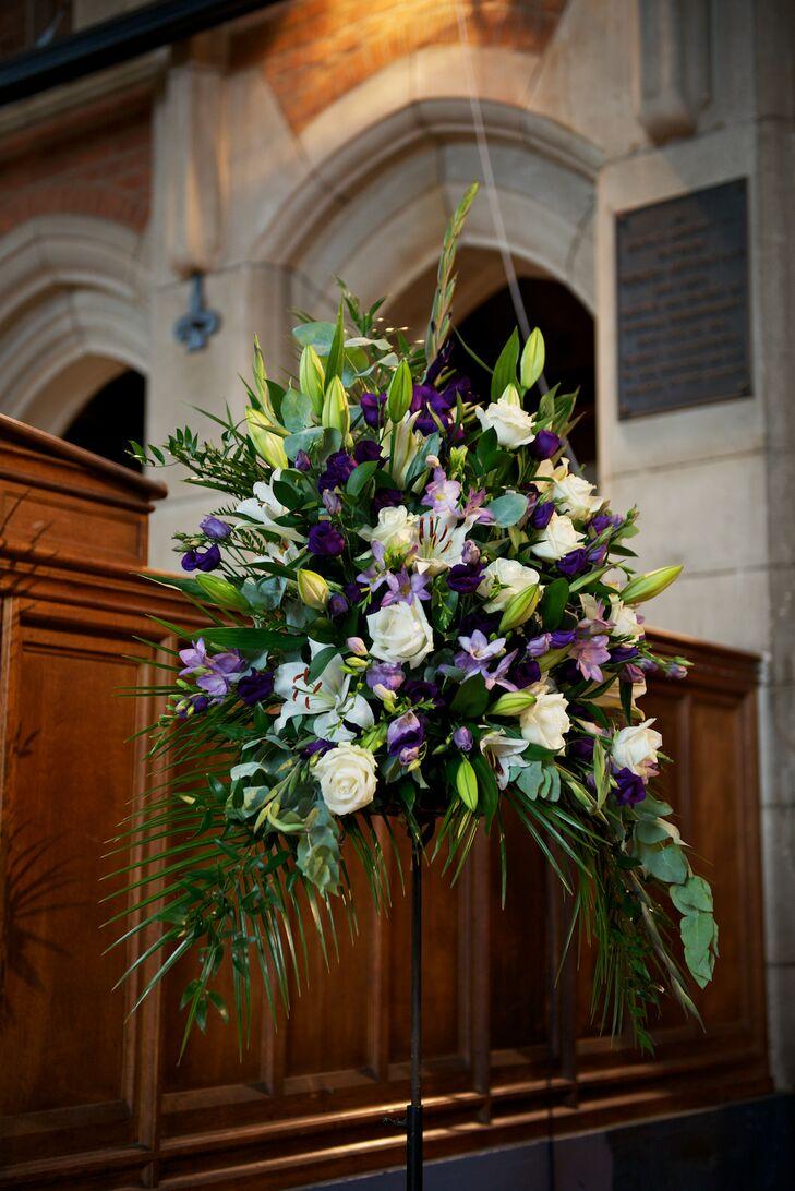 White And Purple Flower Arrangements For Church Wedding