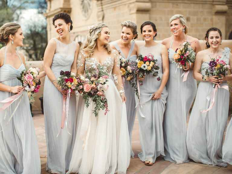 bridal party grey bridesmaid dresses