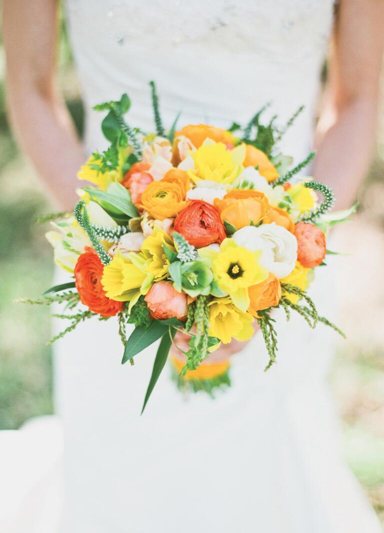 Bright orange and yellow bridal bouquet