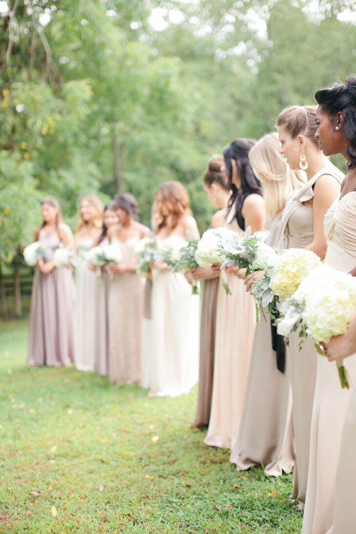 Floor length neutral bridesmaid dresses ombrellifo Image collections