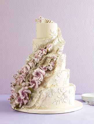 Ron Ben-Israel ruffles and rose wedding cake