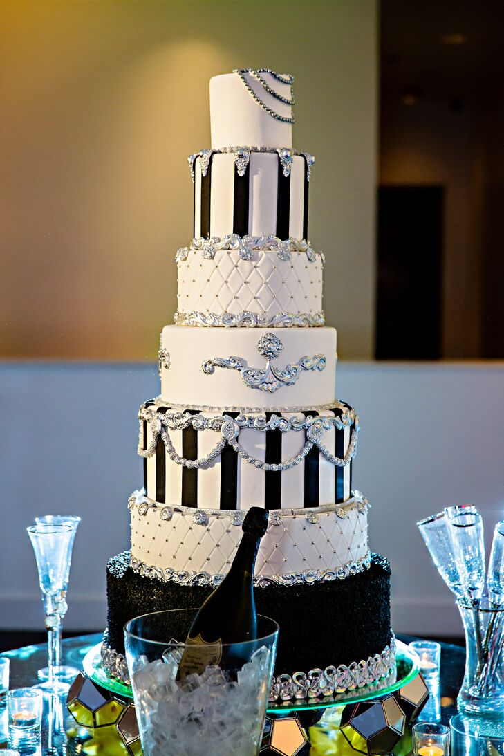 Six-Tier Custom Black-and-White Wedding Cake