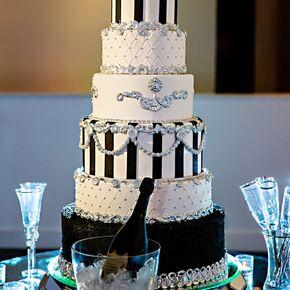 Black and white wedding cakes six tier custom black and white wedding cake junglespirit Gallery