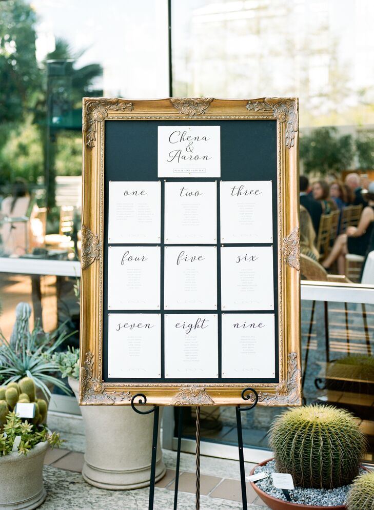 Seating Chart Displayed in Gold Picture Frame