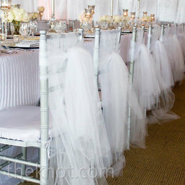 Tulle reception chair decor for Decorating chairs for wedding reception