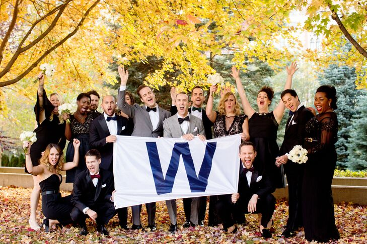 "Since the Cubs' victory parade was on the day of the wedding, it made sense to join the fun. ""Many of our favorite photos of that day were us out and about with parade-goers and the wedding party, having the time of our lives,"" Michael says."
