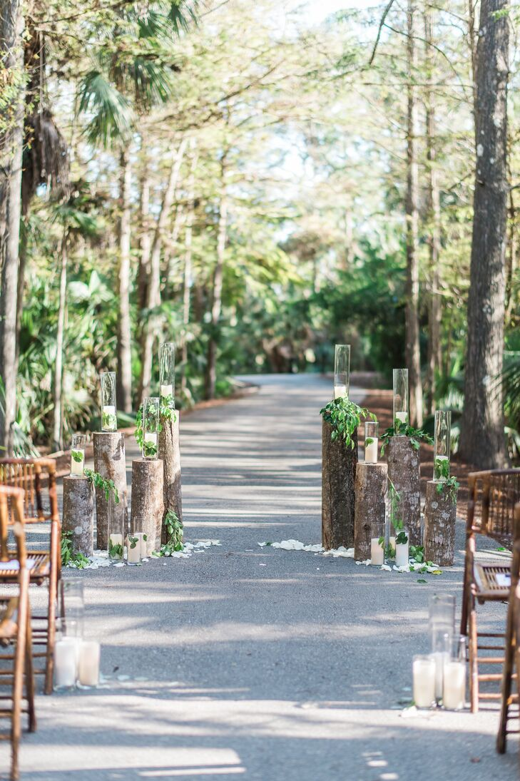 Tree Trunk Candle And Greenery Aisle Decorations