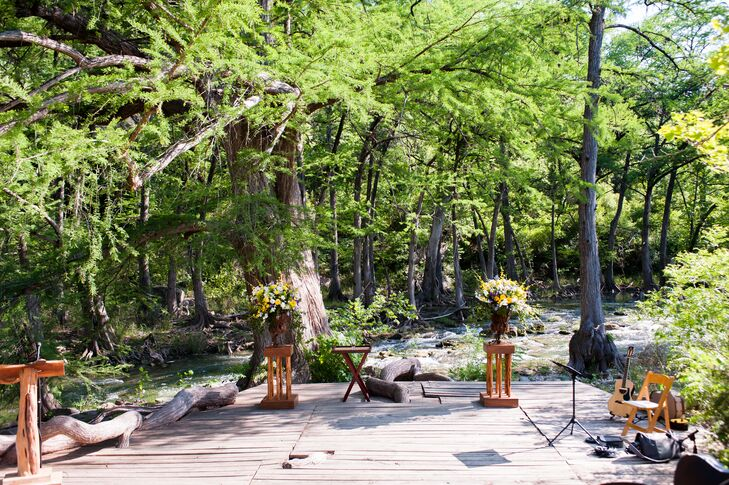 One of the many great things about a wedding at Old Glory Ranch in Wimberley, Texas, is that it has this beautiful spot on the property next to the Blanco River, which was exactly where Sarah and Bruce knew they wanted to say their vows.