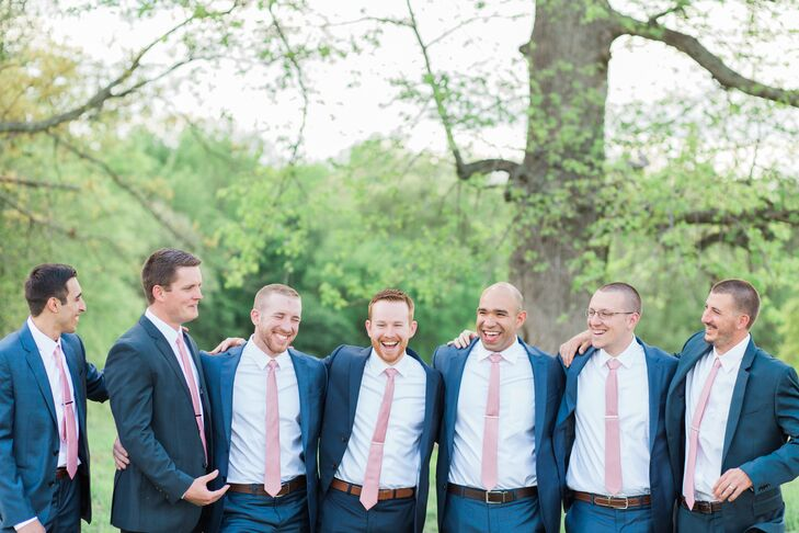 Navy Wedding Suits and Pink Ties