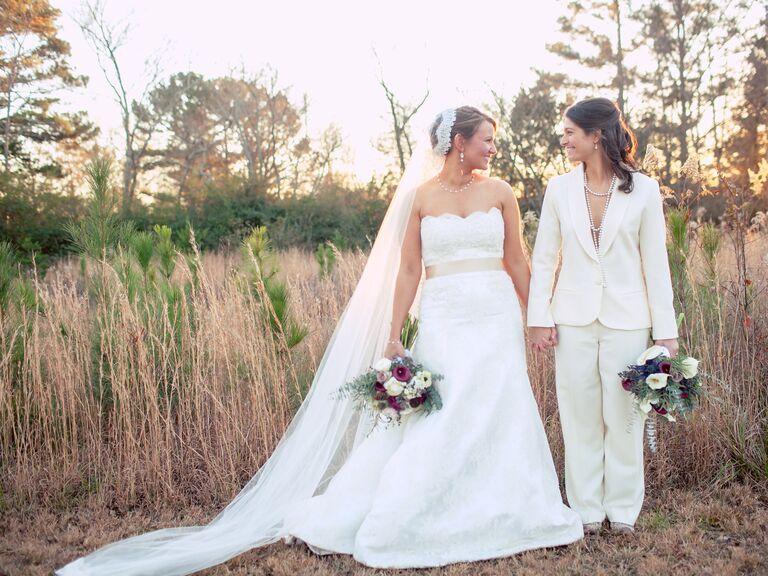 Brides in coordinating formalwear