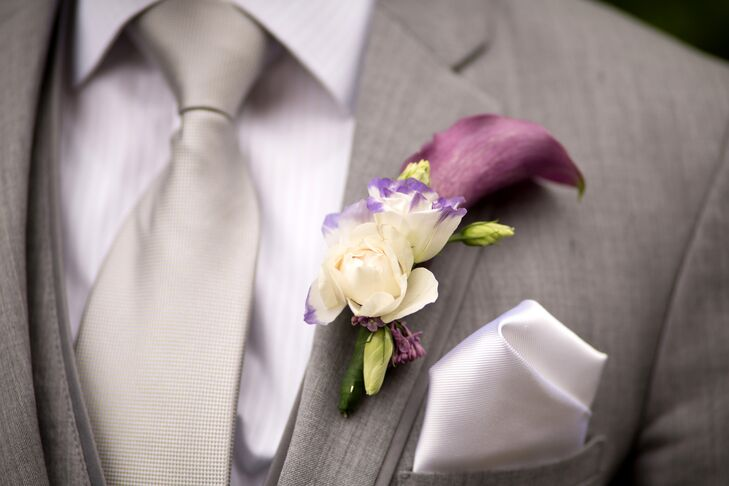 Jamie's boutonniere was a white and purple creation full of roses and calla lilies.