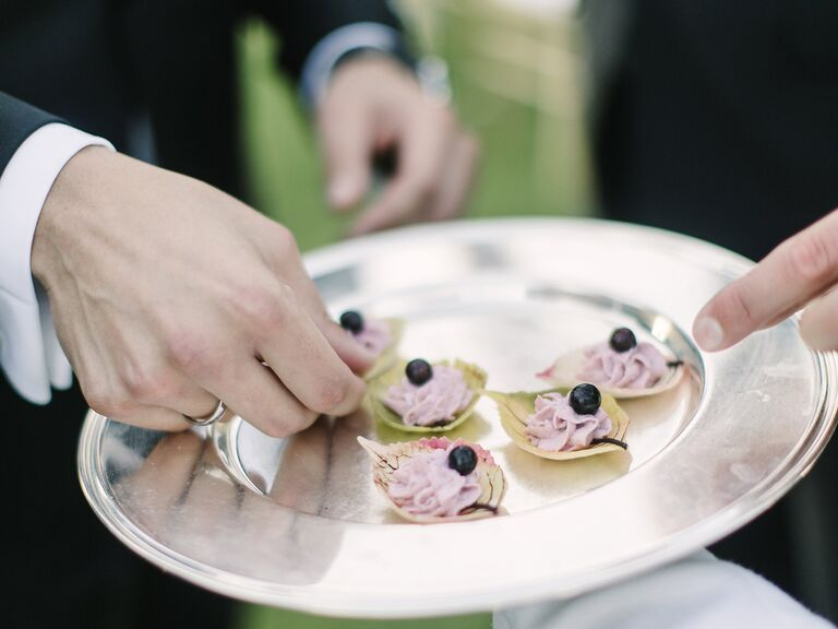 Wedding catering tray with hors d'oeuvres