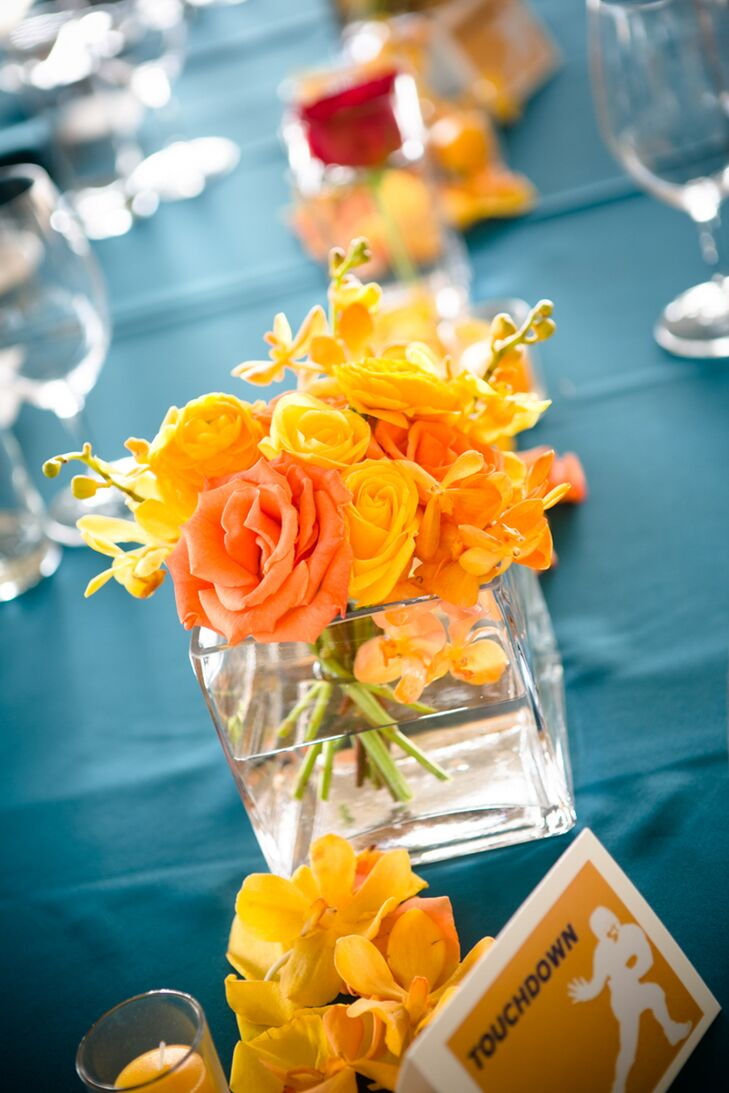 Orange And Canary Yellow Rose Centerpieces