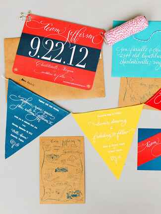Creative wedding invitation idea printed on pennant flags