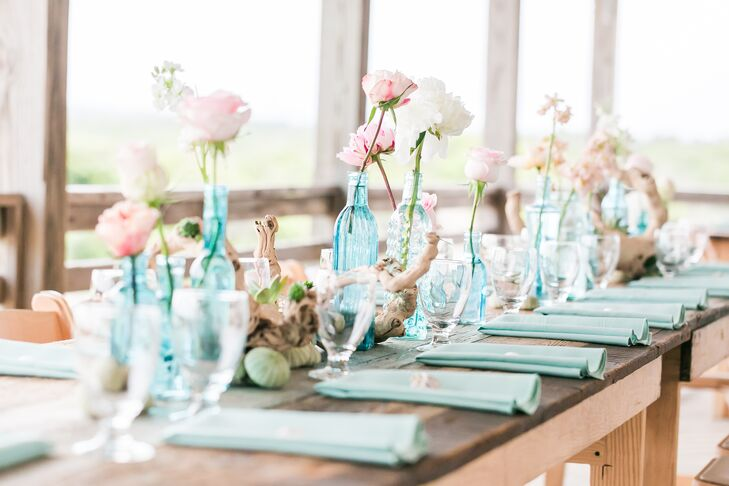 Driftwood Shells And Blue Bud Vase Centerpieces